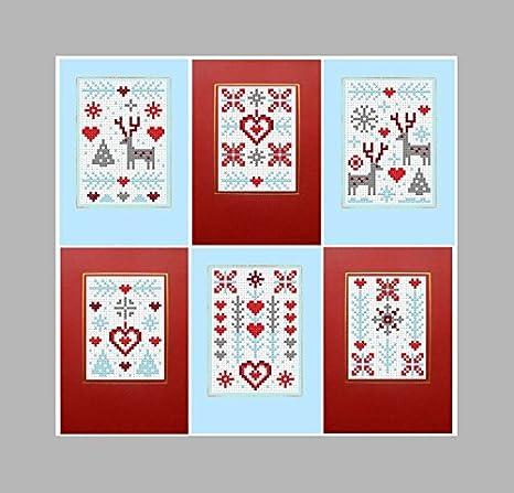 Biglietti Di Natale A Punto Croce.6 Kit Punto Croce Biglietti Di Natale Pupazzo Di Neve Amazon It