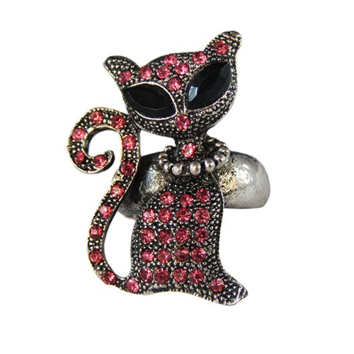 [Twinkle Crystal Metal Ring - Cat (Hot Pink)] (Homemade Gothic Costumes For Women)