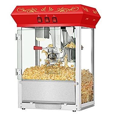 Superior Popcorn Company 4645 SPC MovieNght Red Top 8oz Movie Night Countertop Popper Machine, 8 oz, Red