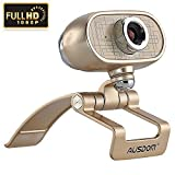 AUSDOM® AW920 Full HD 1080P USB 2.0 Video Webcam with Microphone for PC / Laptop / Smart TV / Skype, Digital Zoom, Clip-On & Freestanding (Golden,with 1 in package)