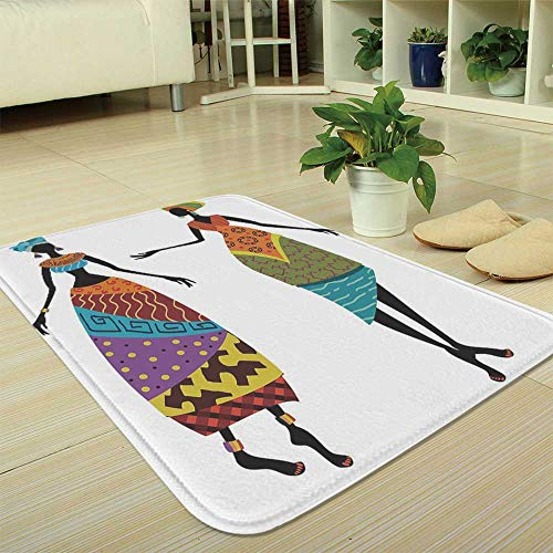YOLIYANA Water Absorption Non-Slip Mat,African Woman,for Corridor Study Room Bathroom,35.43