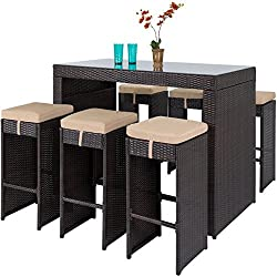 Best Choice Products 7-Piece Outdoor Rattan Wicker Bar Dining Patio Furniture Set w/Glass Table Top, 6 Stools - Brown