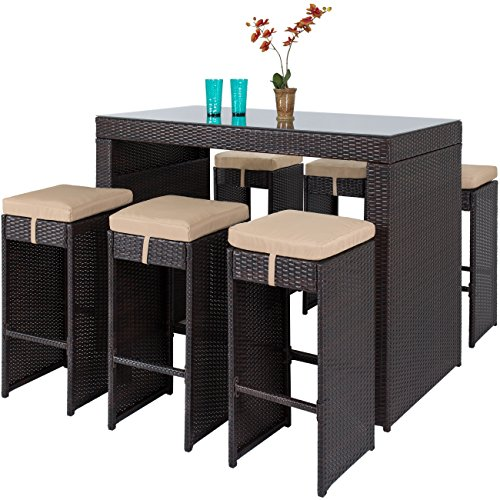 - Best Choice Products 7-Piece Outdoor Rattan Wicker Bar Dining Patio Furniture Set w/ Glass Table Top, 6 Stools - Brown