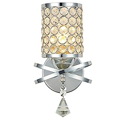 DINGGU Chrome Finish Modern Wall Lamp Bedroom Sconce with Cylinder Crystal Lamp Shade