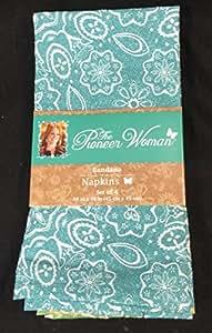 Set 4 Pioneer Woman Colorful Bandana Kitchen Table Napkins