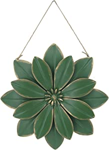 Metal Flowers Wall Decor Outdoor Art Large Vintage Green Flower with Rope for Bedroom Living Room Patio Decoration 13.5