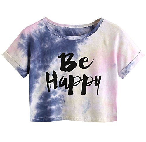 (SweatyRocks Women's Tie Dye Letter Print Crop Top T Shirt (XX-Large, Multicolor))