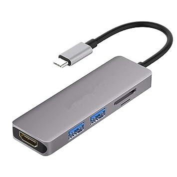 YOMRIC USB C Hub 5 en 1 con Adaptador HDMI 4K, 2 Puertos USB ...