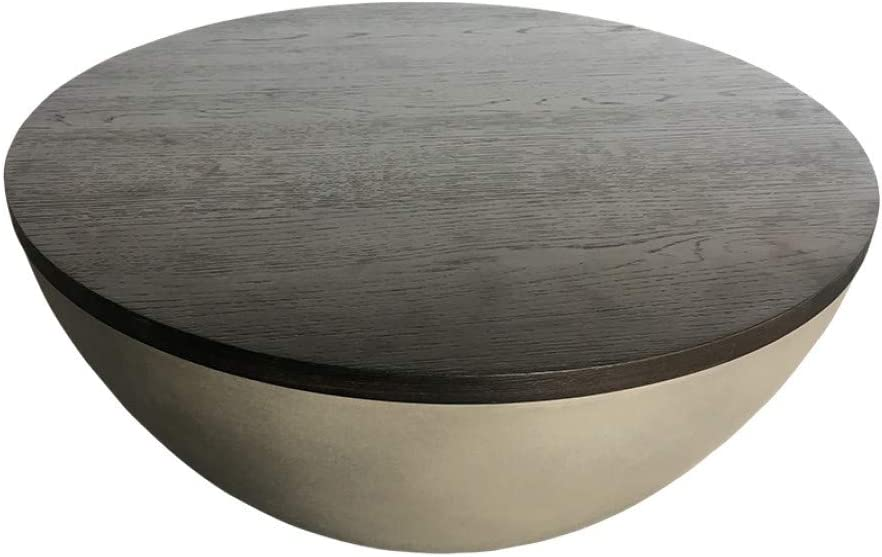 Limari Home Tomaselli Collection Modern Style Living Room Solid Oak Round Coffee Table With Concrete Base, Brown