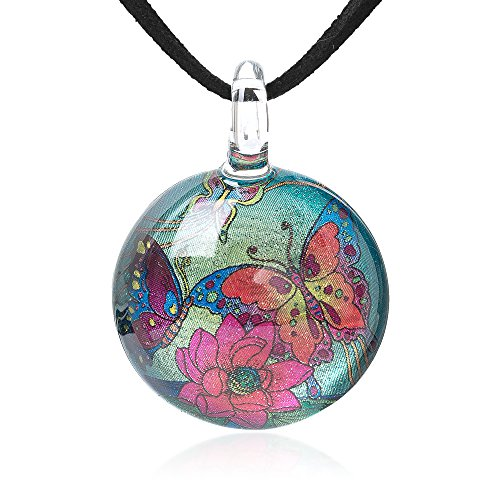 (Chuvora Hand Blown Glass Jewelry Butterflies & Flower Retro Round Pendant Necklace, 17-19 Inches)