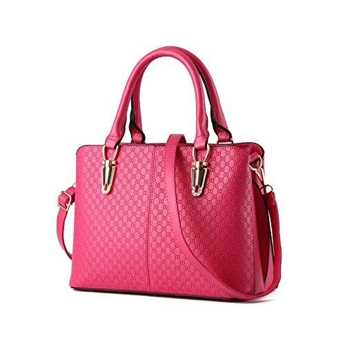 Tisdaini Mujer Bolso Billetero PU Calidad en relieve bolsos de cuero Bolso de mujer Bolso de mensajero en un solo hombro Rose