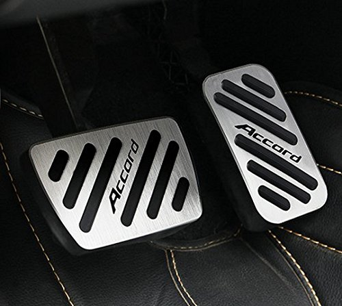 Aluminum No drill Sport Foot Fuel Brake AT Pedal Cover pad plate trim For North America Honda Accord 2013 2014 2015 2016 2017 2018 2019 ()
