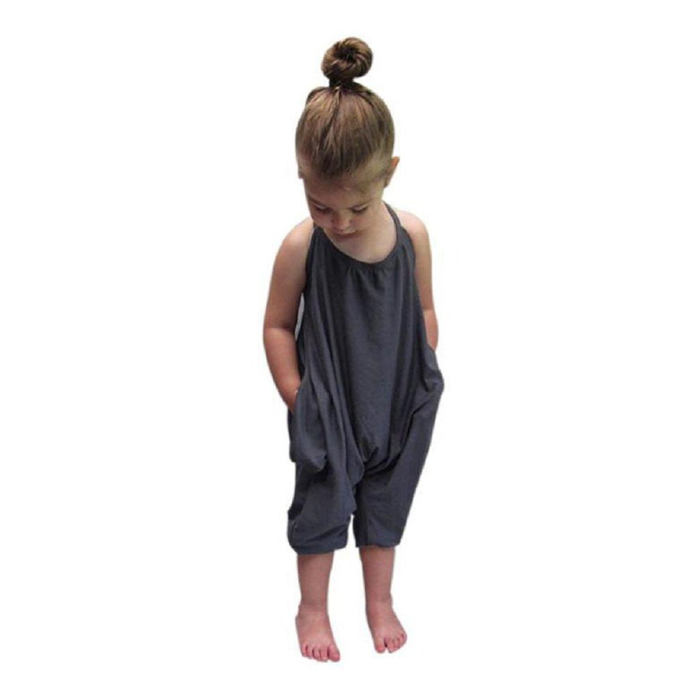 Baby Girls Straps Rompers, Kid 100% Cotton Jumpsuits Piece Harem Pants Clothing Clearance Yamally_9R