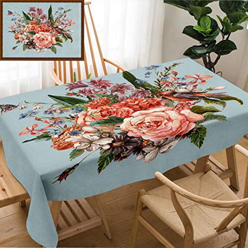 Hyacinth Rose Bouquet - Unique Custom Design Cotton And Linen Blend Tablecloth Gentle Spring Floral Bouquet With Roses Hyacinths Butterfly And Wild Flowers In Vintage StTablecovers For Rectangle Tables, Large Size 86