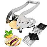 vegetable cutters stainless steel - French Fry Cutter-Professsional Potato Slicer Vegetable Chopper Dicer with 2 Interchangeable Stainless Steel Blades and Non-Slip Suction Base for Vegetables Like Potato, Cucumber, Onion and More