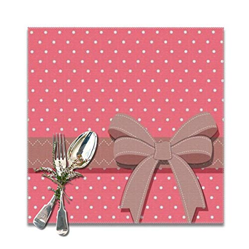 BUN Placemats Square Set of 6 for Dining Room Kitchen Table Decor, Girly Wallpapers Print Table Mats Washable -