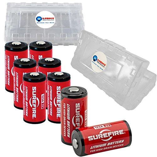 (8 Pack Surefire CR123A Lithium Battery 3v with 2 LightJunction Battery Cases )