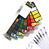 Foldable Watercolour Paint Set, Portable Artist Painting Kit 42 Assorted Colors and 7 Water Brushes Set for Field Sketch Outdoor Painting (42 Colors+7 Water Brushes)