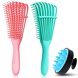 Detangling Brush Set, Hair Scalp Massager Shampoo Brush Scalp Care Brush, for Hair Textured 3a to 4c Kinky Wavy/Curly/Coily/Wet/Dry/Oil/Thick/Long Hair(2 Pieces Detangling Brush+Hair Scalp Massager )