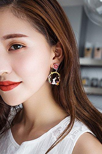 - Generic Korean version of the cute little bunny sweet women girls lady flowers garland diamond earrings pearl earrings ear jewelry palm cactus