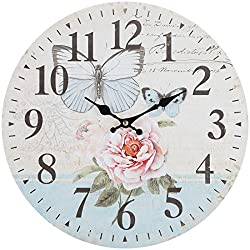 Lily's Home Retro Style Vintage Inspired Blue Swallowtail Butterfly Floral Garden Kitchen Wall Clock, Battery-Powered with Quartz Movement, Ideal Gift for Garden or Flower Lover (13 Diameter)