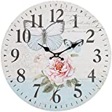 Cheap Lily's Home Retro Style Vintage Inspired Blue Swallowtail Butterfly Floral Garden Kitchen Wall Clock, Battery-Powered with Quartz Movement, Ideal Gift for Garden or Flower Lover (13″ Diameter)
