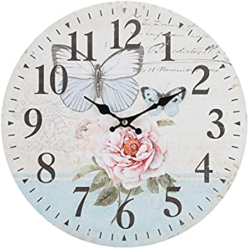 Lilyu0027s Home Blue Swallowtail Butterfly Floral Garden Kitchen Wall Clock, 13  Inch