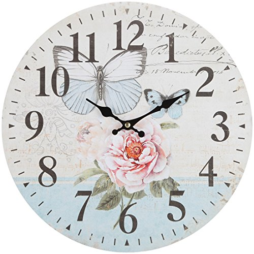"""Lily's Home Retro Style Vintage Inspired Blue Swallowtail Butterfly Floral Garden Kitchen Wall Clock, Battery-Powered with Quartz Movement, Ideal Gift for Garden or Flower Lover (13"""" Diameter)"""