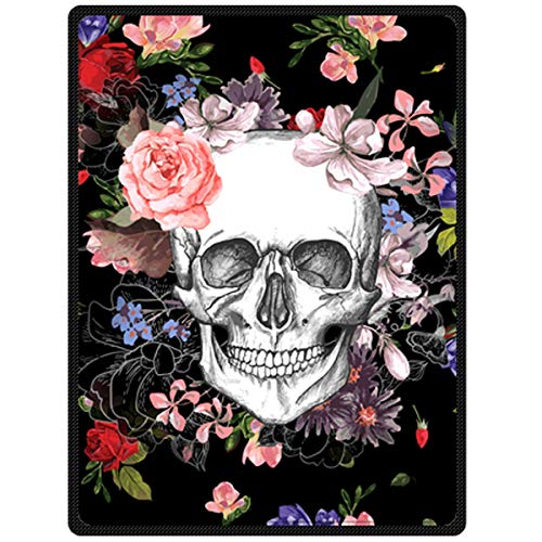 "Assaoy Skull Blanket, 60"" x 80"" Blanket Comfort Warmth Soft Cozy Air Conditioning Skull Fashion Fleece Blanket Perfect for Couch Sofa or Bed"