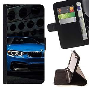 Momo Phone Case / Flip Funda de Cuero Case Cover - Blue Car;;;;;;;; - LG OPTIMUS L90