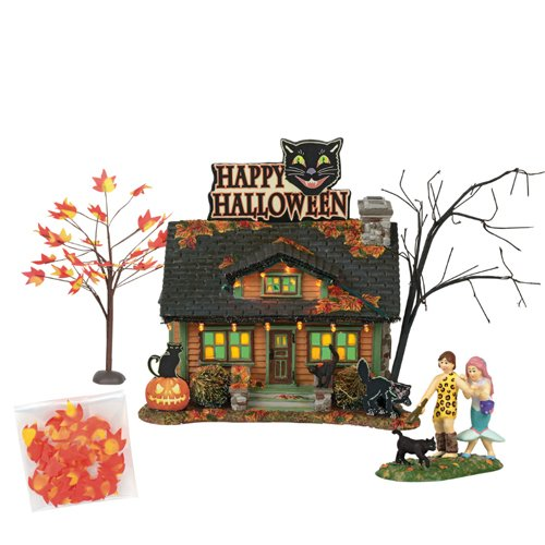 "Department56 Snow Village Halloween The Black Cat Flat Lit Building and Accessories, 6"", Multicolor"