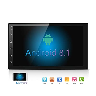 Podofo Android Autoradio stéréo 17, 8 cm haute définition à écran tactile capacitif avec navigation GPS Bluetooth USB SD Lecteur radio AM/FM support caméra de recul d'entrée