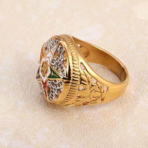 Nattaphol Stainless Steel Gold & Silver OES Order of The Eastern Star Rings for Men Women Masonic Freemason Female Rings (6)