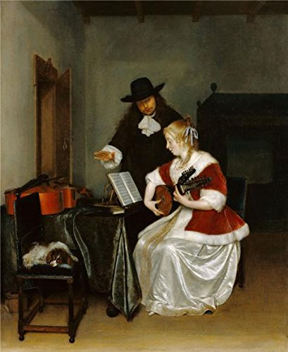 ['The Music Lesson, 1668 By Gerard Ter Borch' Oil Painting, 12x15 Inch / 30x37 Cm ,printed On Perfect Effect Canvas ,this Vivid Art Decorative Canvas Prints Is Perfectly Suitalbe For Nursery Decor And Home Decoration And Gifts] (Human Spider Costume Code)