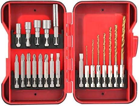 Juego de brocas para taladro, puntas de destornillador y perforación con caja de plástico rojo, 21 piezas: Amazon.es: Bricolaje y herramientas