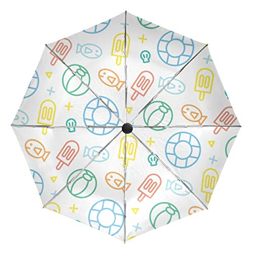 Summer Fish Volleyball Popsicle White Cartoon Stick Figure Umbrellas Auto Open Close 3 Folding Golf Strong Durable Compact Travel Umbrella Uv Protection Portable Lightweight Easy Carrying and Slip-Pro