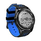 ZRSJ Waterproof Bluetooth Watch Outdoor Sport Smart Watch F3 Fitness Tracker Pedometer Smartwatch for Android and IOS Smartphones (Black-Blue)