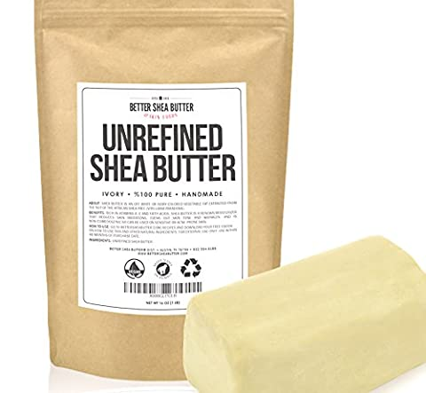 Unrefined Shea Butter by Better Shea Butter - African, Raw, Pure - Use Alone or in DIY Body Butters, Lotions, Soap, Eczema & Stretch Marks Products, Lotion Bars, Lip Balms and More! - 1 lb (16 - Health And Beauty