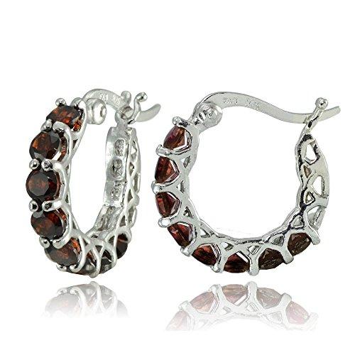 - Sterling Silver African Garnet Small Round Huggie Hoop Earrings