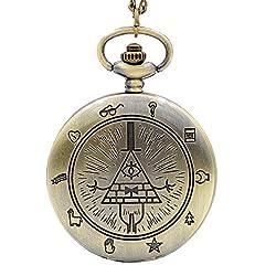 Vintage Bill Cipher Quartz Pocket Watch Analog Pendant Necklace Men Women Watches Chain Gift