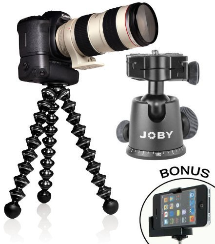 GorillaPod Focus Flexible Tripod with Ball Head Bundle For Most Canon Video Cameras & Camcorders & a Bonus Universal Smartphone Tripod Mount Adapter works for Most Smartphones
