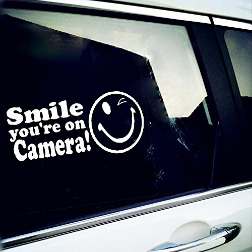 vylumuses Smile. You are On Camera! Cute Warning Mark Car Stickers Motorcycle Decals Car Accessories Styling Stickers Window Decal (White) - Camera Warning Sticker