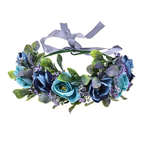 Love Sweety Succulent Flower Crown Eucalyptus Halo Wedding Floral Headband Photo Prop (R-Blue)