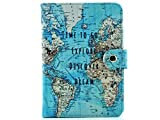 Map Passport Cover- Blue RFID Blocking Travel Wallet Passport Holder