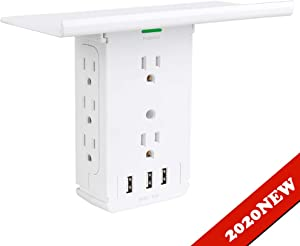 Power Charger Shelf-CFMASTER 11 Port Surge Protector Wall Outlet, 8 Electrical Outlet Extenders and 3 USB Ports 3.4A, with Removable Built-In Shelf and LED Indicator, FCC Listed, White
