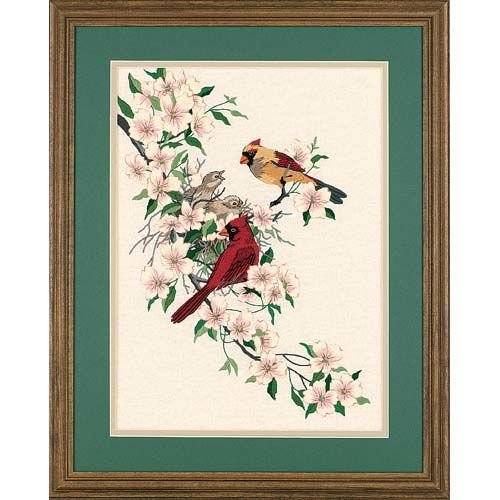 Dimensions Needlecrafts Crewel, Cardinals In Dogwood - Beautiful Bird Counted Cross Stitch