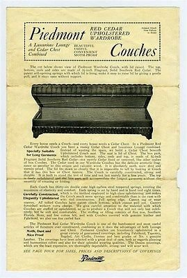 Piedmont Red Cedar Chest   Upholstered Wardrobe Couch Brochure 1930S