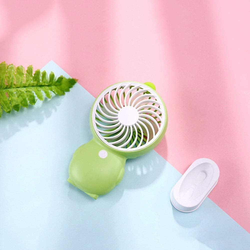 ASDAD Small USB Handheld Fan with Detachable Base Four-Leaf Design Low Noise 2 Speeds Portable Mini Fan for Home Office Outdoor Travel,Pink,Green