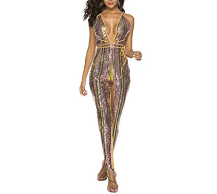 e0e3df81dbc Ussuperstar Women s Rainbow Sequin V-Neck Jumpsuit Sleeveless Striped  Rompers Clubwear (Colorful