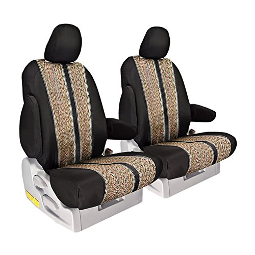 Front Seats: ShearComfort Custom Saddle Blanket Seat Covers for Toyota Tundra (2014-2019) in Sport Black for Buckets w/Adjustable Headrests